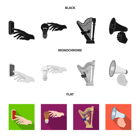 Electric switch button, incandescent lamp and other web icon in black, flat, monochrome style. harp playing, Megaphone in hand icons in set collection.