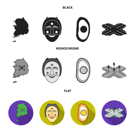 A map of the state with a flag, a Korean mask, a national egg meal, a crossroads with traffic lights. South Korea set collection icons in black, flat, monochrome style vector symbol stock illustration web.