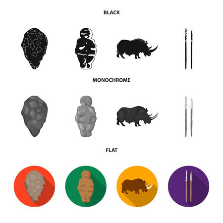 Primitive, woman, man, cattle .Stone age set collection icons in black, flat, monochrome style vector symbol stock illustration web.