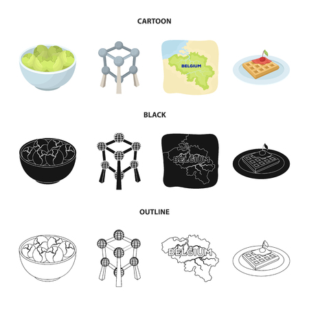 Territory on the map, brussels sprouts and other symbols of the country.Belgium set collection icons in cartoon,black,outline style vector symbol stock illustration web. Stock Illustratie