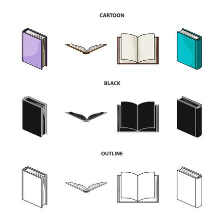 Vari tipi di libri. I libri hanno messo le icone della raccolta nel web dell'illustrazione delle azione di simbolo di vettore di stile del fumetto, nero, struttura. Vettoriali