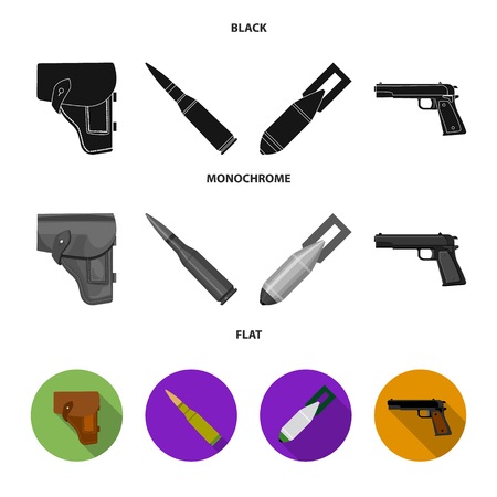 Holster, cartridge, air bomb, pistol. Military and army set collection icons in black, flat, monochrome style vector symbol stock illustration web.