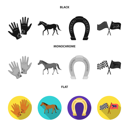 Race, track, horse, animal .Hippodrome and horse set collection icons in black, flat, monochrome style vector symbol stock illustration web. 向量圖像