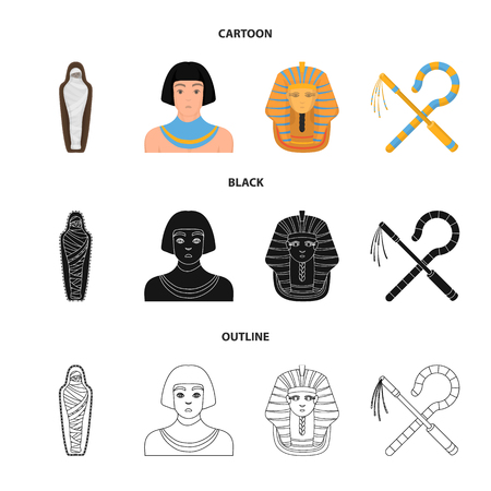 Crook and flail,a golden mask, an egyptian, a mummy in a tomb.Ancient Egypt set collection icons in cartoon,black,outline style vector symbol stock illustration web. Ilustração
