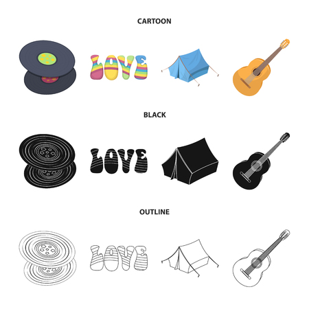 Vinyl discs, guitar, tent.Hippy set collection icons in cartoon,black,outline style vector symbol stock illustration web.