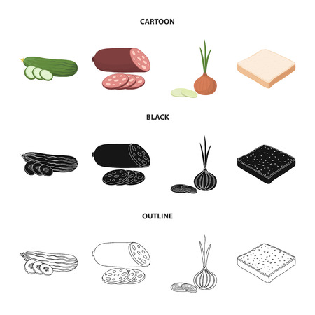 Burger and ingredients cartoon,black,outline icons in set collection for design. Burger cooking vector symbol stock web illustration.