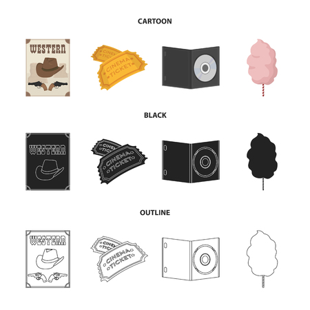 Western cinema, tickets, sweet cotton wool, film on DVD.Filmy and cinema set collection icons in cartoon,black,outline style vector symbol stock illustration web.