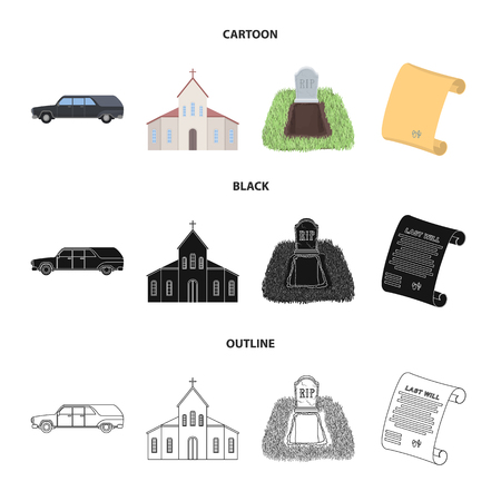 Black to transport the grave of the deceased, a church for a funeral ceremony, a grave with a tombstone, a death certificate. Funeral ceremony set collection icons in cartoon,black,outline style vector symbol stock illustration web.