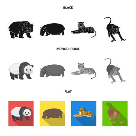 Bamboo bear, hippopotamus, wild animal tiger, monkey . Wild animal set collection icons in black, flat, monochrome style vector symbol stock illustration web.