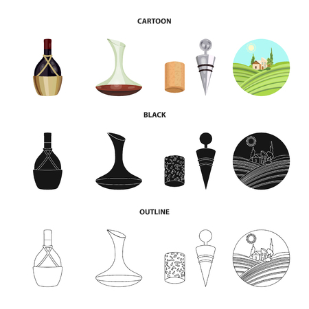 A bottle of wine in a basket, a gafine, a corkscrew with a cork, a grape valley. Wine production set collection icons in cartoon,black,outline style vector symbol stock illustration web. Foto de archivo - 106305455