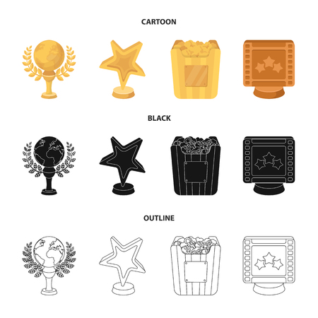 A gold prize in the form of a star, a gold globe and other prizes.Movie awards set collection icons in cartoon,black,outline style vector symbol stock illustration web.