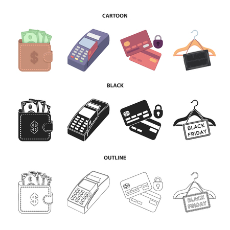 Purse, money, touch, hanger and other equipment. E commerce set collection icons in cartoon,black,outline style vector symbol stock illustration web. Illustration