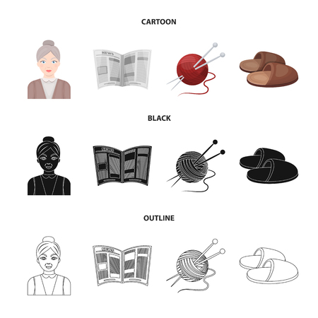 An elderly woman, slippers, a newspaper, knitting.Old age set collection icons in cartoon,black,outline style vector symbol stock illustration web.