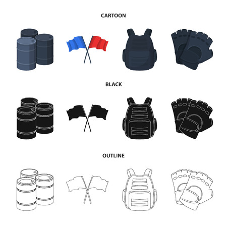 Protective vest, gloves and other equipment. Paintball single icon in cartoon,black,outline style vector symbol stock illustration web.