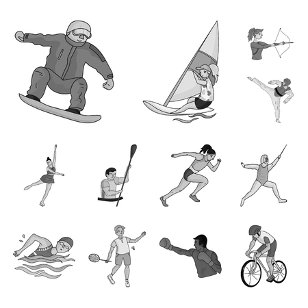 Different kinds of sports monochrome icons in set collection for design. Athlete, competitions vector symbol stock web illustration. Illustration