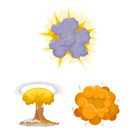 Different explosions cartoon icons in set collection for design.Flash and flame bitmap symbol stock  illustration.