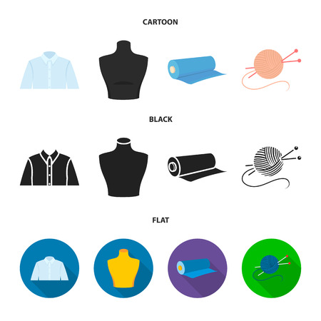 A man shirt, a mannequin, a roll of fabric, a ball of threads and knitting needles.Atelier set collection icons in cartoon,black,flat style bitmap symbol stock illustration . Stock Photo