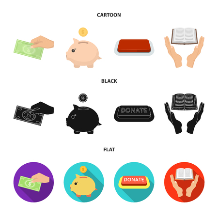 Hand with money for poshestvovaniya, a piggy bank for charity, a button with an inscription, a book for the blind in their hands. Charity and donation set collection icons in cartoon,black,flat style bitmap symbol stock illustration .