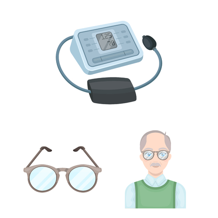 Human old age cartoon icons in set collection for design. Pensioner, period of life bitmap symbol stock  illustration. Zdjęcie Seryjne