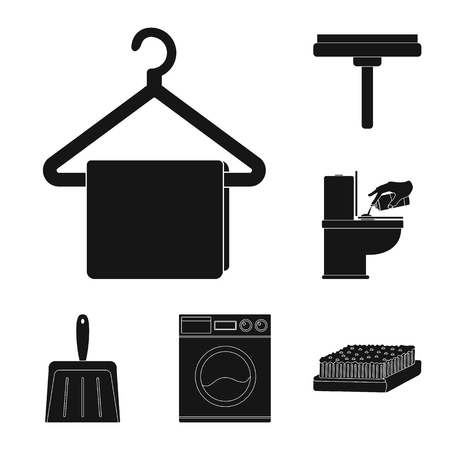 Cleaning and maid black icons in set collection for design. Equipment for cleaning bitmap symbol stock  illustration.
