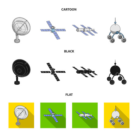 Radio radar, docking in space spacecraft, Lunokhod. Space technology set collection icons in cartoon,black,flat style bitmap symbol stock illustration .