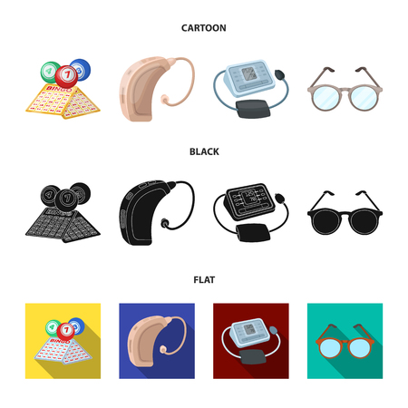 Lottery, hearing aid, tonometer, glasses.Old age set collection icons in cartoon,black,flat style bitmap symbol stock illustration .