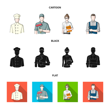 Cook, painter, teacher, locksmith mechanic.Profession set collection icons in cartoon,black,flat style bitmap symbol stock illustration web.