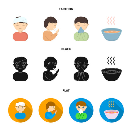 A man with a bandaged head, a man coughing, a man snorts a snot, a bowl, a bowl of hot broth into a handkerchief. Sick set collection icons in cartoon,black,flat style bitmap symbol stock illustration web.