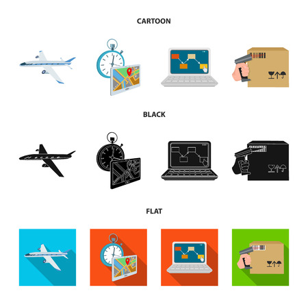 Transport aircraft, delivery on time, computer accounting, control and accounting of goods. Logistics and delivery set collection icons in cartoon,black,flat style isometric bitmap symbol stock illustration web.
