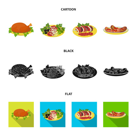Fried chicken, vegetable salad, shish kebab with vegetables, fried sausages on a plate. Food and Cooking set collection icons in cartoon,black,flat style bitmap symbol stock illustration web.