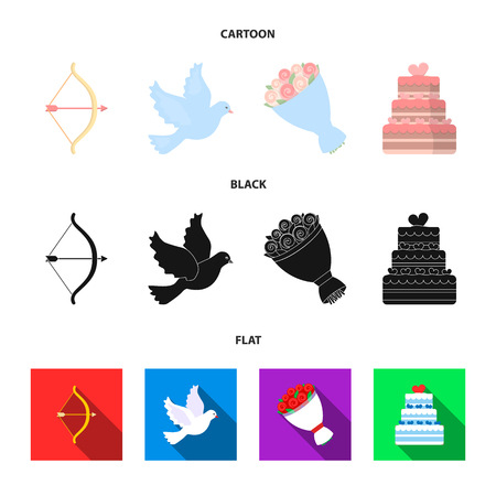 Arrow cupid, dove, bouquet of flowers, wedding cake. Weddin gset collection icons in cartoon,black,flat style bitmap symbol stock illustration web.