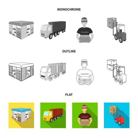Truck, courier for delivery of pizza, forklift, storage room. Logistics and delivery set collection icons in flat,outline,monochrome style isometric bitmap symbol stock illustration web.