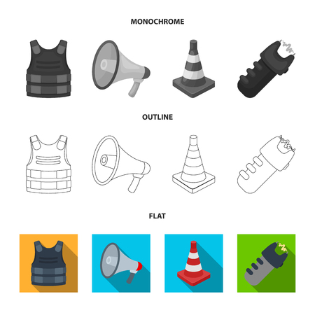 Bulletproof vest, megaphone, cone of fencing, electric shock. Police set collection icons in flat,outline,monochrome style bitmap symbol stock illustration web.