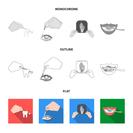 Examination of the tooth, instillation of the eye and other web icon in flat,outline,monochrome style. A snapshot of the hand, teeth cleaning icons in set collection.