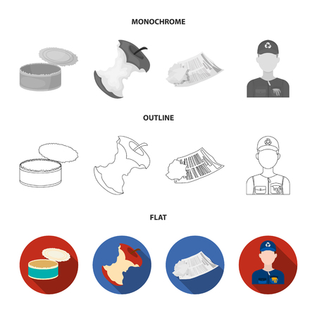 Can used used pot, apple stub, old dirty and wrinkled newspaper, the man who takes out the garbage.Garbage and trash set collection icons in flat,outline,monochrome style bitmap symbol stock illustration web.