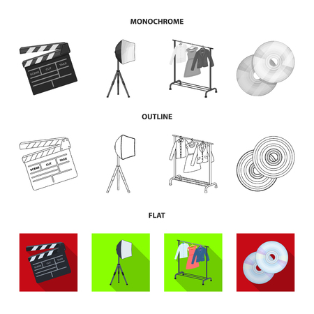 Movies, discs and other equipment for the cinema. Making movies set collection icons in flat,outline,monochrome style bitmap symbol stock illustration web. Stock fotó