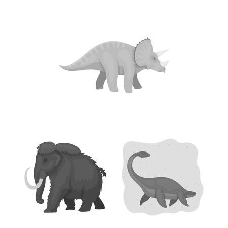 Different dinosaurs monochrome icons in set collection for design. Prehistoric animal vector symbol stock web illustration. Stock Illustratie