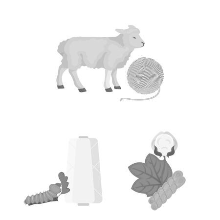 Monochrome Ikonen der Textilindustrie in der Satzsammlung für das Design. Vektorgrafik
