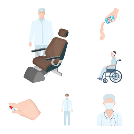 Medicine and treatment cartoon icons in set collection for design.Hospital and equipment vector symbol stock web illustration.