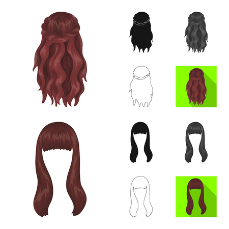 Female hairstyle cartoon,black,flat,monochrome,outline icons in set collection for design. Stylish haircut vector symbol stock  illustration.