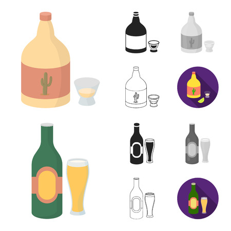 Types of alcohol cartoon,black,flat,monochrome,outline icons in set collection for design. Alcohol in bottles vector symbol stock  illustration.