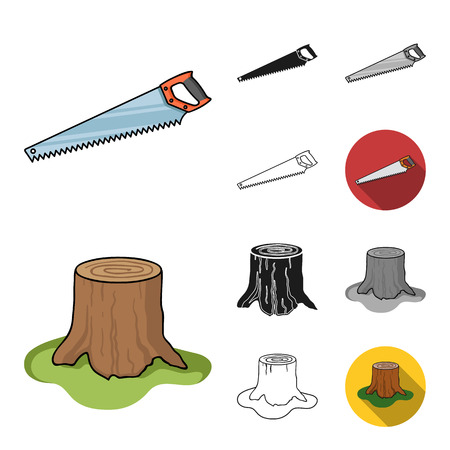Sawmill and Timber cartoon,black,flat,monochrome,outline icons in set collection for design. Hardware and Tools vector symbol stock  illustration. Ilustrace
