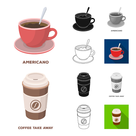 Different kinds of coffee cartoon,black,flat,monochrome,outline icons in set collection for design. Coffee drink vector symbol stock  illustration.
