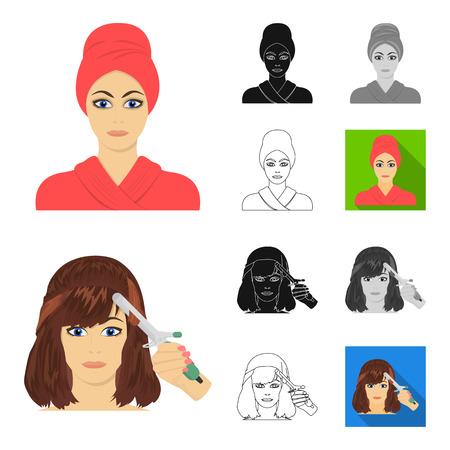 Cuidado del cabello y la cara de dibujos animados, negro, plano, monocromo, iconos de contorno de colección set de diseño. Perfumes y maquillaje vector símbolo stock de ilustración.