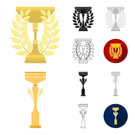 Gold Cup cartoon,black,flat,monochrome,outline icons in set collection for design. Winners Cup vector symbol stock  illustration. 일러스트