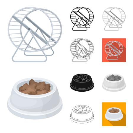 Tienda de mascotas de dibujos animados, negro, plano, monocromo, iconos de contorno de colección set de diseño.Los productos para animales vector símbolo stock de ilustración.