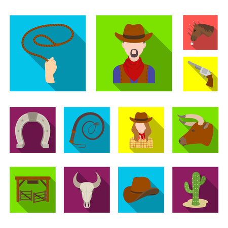 Rodeo, competition flat icons in set collection for design. Cowboy and equipment vector symbol stock  illustration.