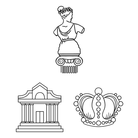 Museum and gallery outline icons in set collection for design. Storage and exhibition of showpiece bitmap symbol stock  illustration.