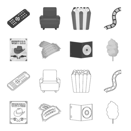 Western cinema, tickets, sweet cotton wool, film on DVD.Filmy and cinema set collection icons in outline,monochrome style bitmap symbol stock illustration .