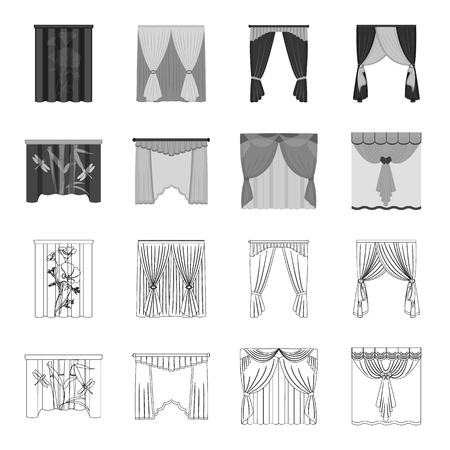 Embroidery, textiles, furniture and other  icon in outline,monochrome style.Curtains, stick, cornices, icons in set collection